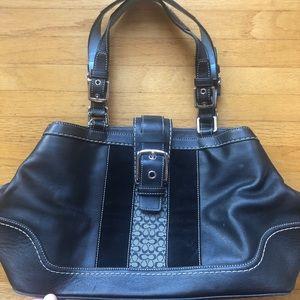 Coach Hampton satchel black leather buckle flap